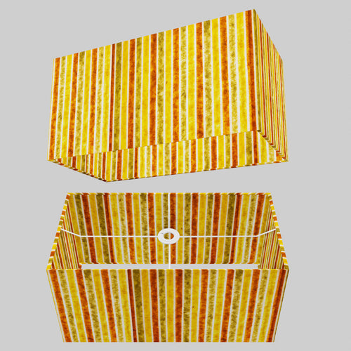 Rectangle Lamp Shade - P06 - Batik Stripes Autumn, 50cm(w) x 25cm(h) x 25cm(d)
