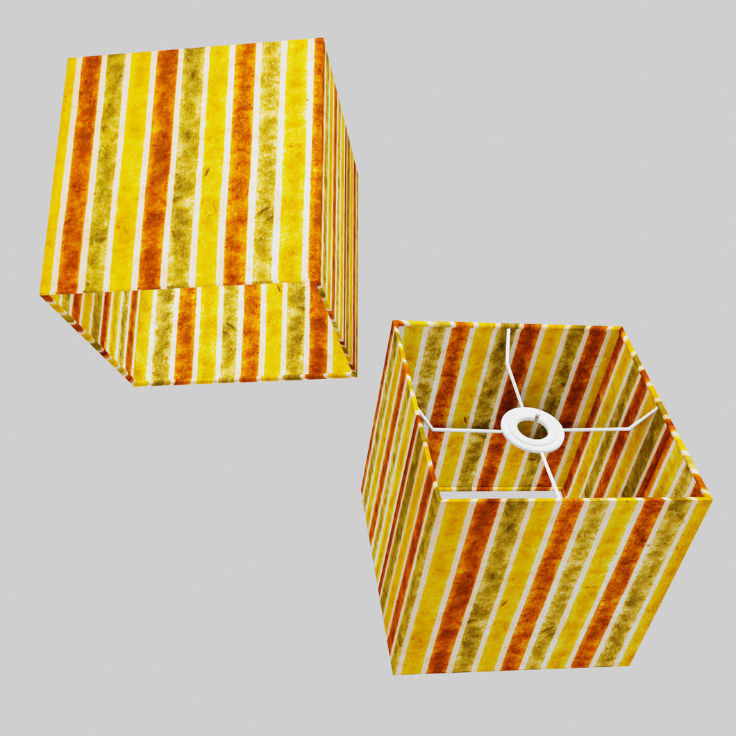 Square Lamp Shade - P06 - Batik Stripes Autumn, 20cm(w) x 20cm(h) x 20cm(d)