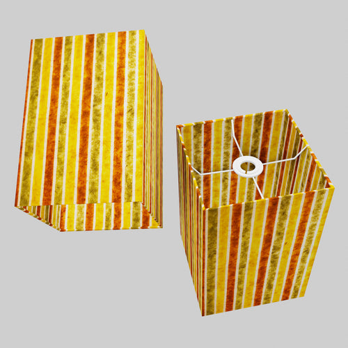 Square Lamp Shade - P06 - Batik Stripes Autumn, 20cm(w) x 30cm(h) x 20cm(d)