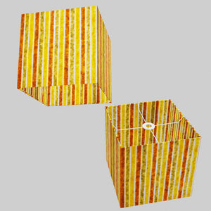 Square Lamp Shade - P06 - Batik Stripes Autumn, 30cm(w) x 30cm(h) x 30cm(d)