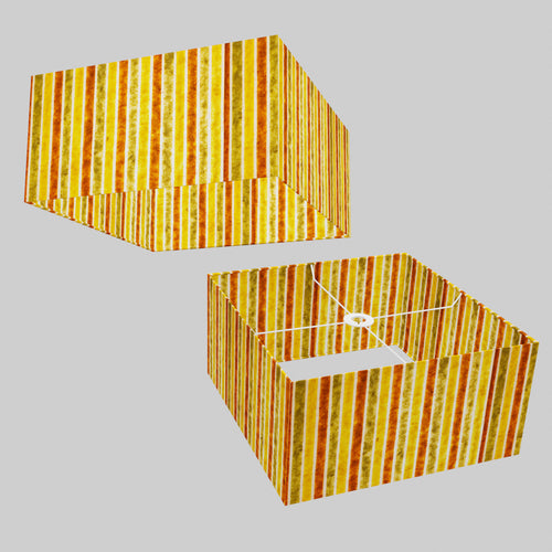 Square Lamp Shade - P06 - Batik Stripes Autumn, 40cm(w) x 20cm(h) x 40cm(d)