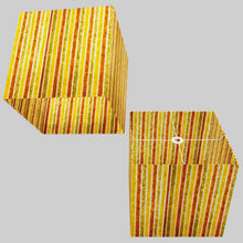 Square Lamp Shade - P06 - Batik Stripes Autumn, 40cm(w) x 40cm(h) x 40cm(d)