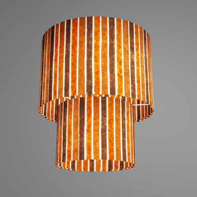 2 Tier Lamp Shade - P07 - Batik Stripes Brown, 30cm x 20cm & 20cm x 15cm
