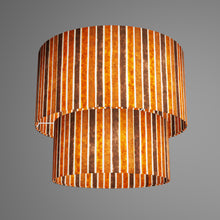 2 Tier Lamp Shade - P07 - Batik Stripes Brown, 40cm x 20cm & 30cm x 15cm
