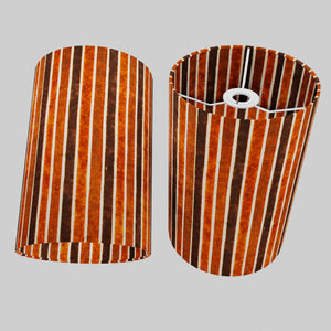 Drum Lamp Shade - P07 - Batik Stripes Brown, 20cm(d) x 30cm(h)
