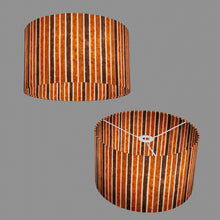 Drum Lamp Shade - P07 - Batik Stripes Brown, 35cm(d) x 20cm(h)