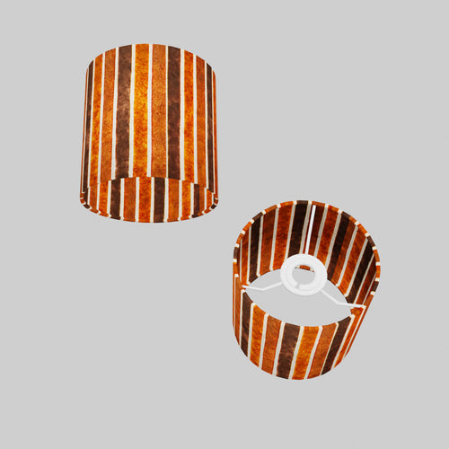 Drum Lamp Shade - P07 - Batik Stripes Brown, 15cm(d) x 15cm(h)