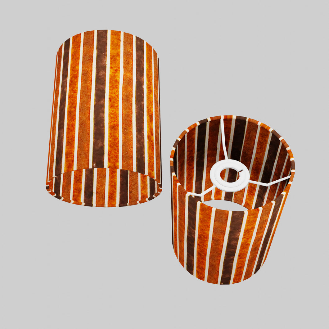 Drum Lamp Shade - P07 - Batik Stripes Brown, 15cm(d) x 20cm(h)