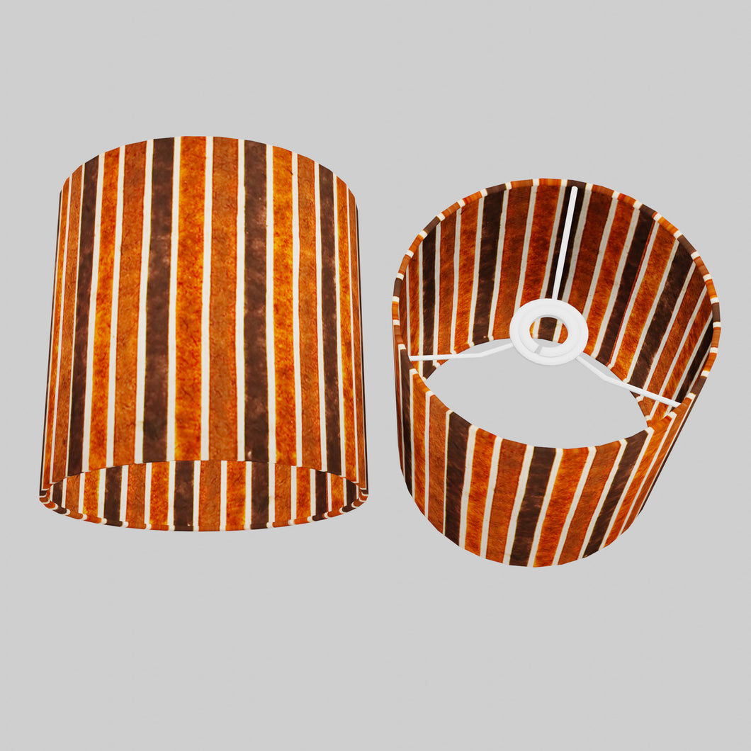 Drum Lamp Shade - P07 - Batik Stripes Brown, 20cm(d) x 20cm(h)