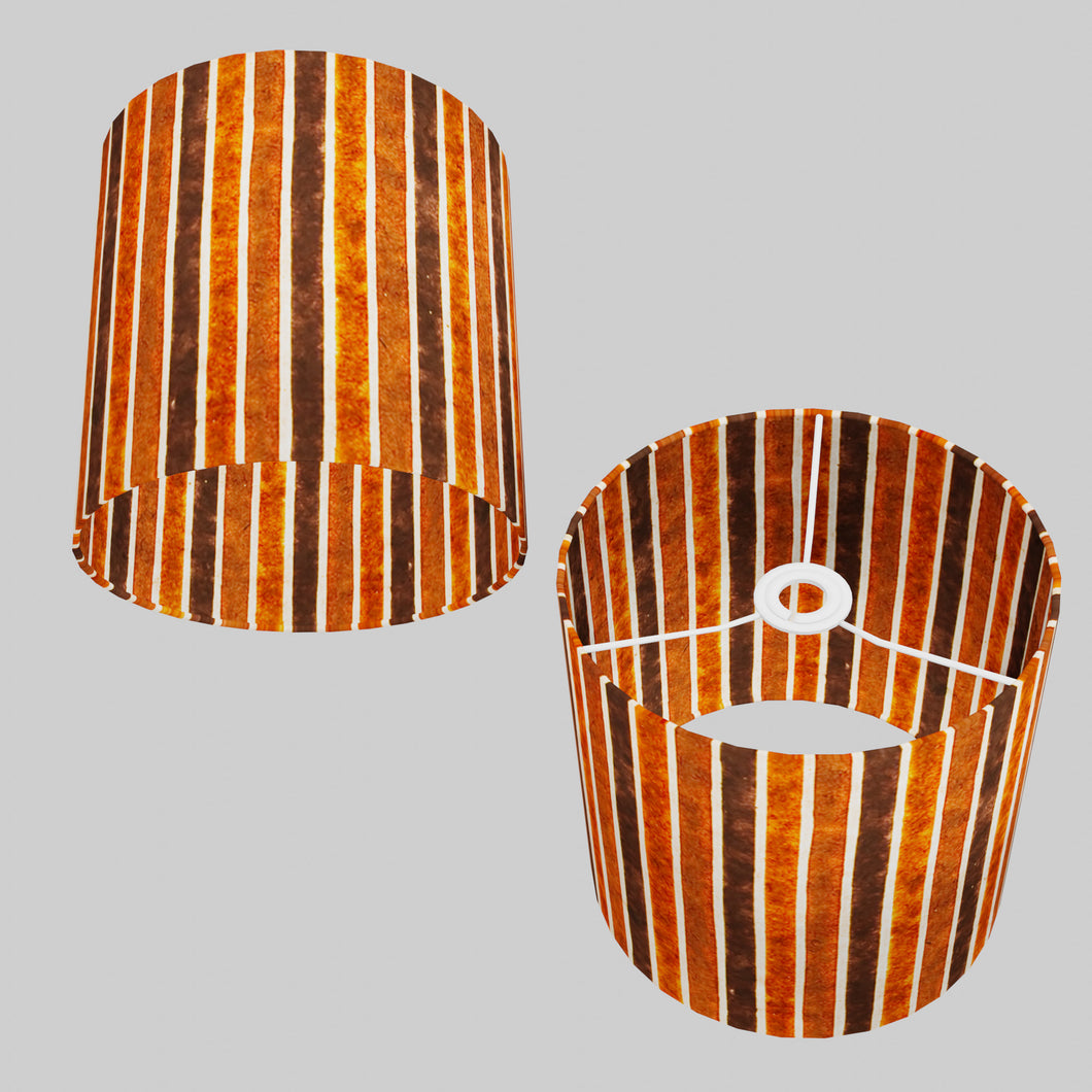 Drum Lamp Shade - P07 - Batik Stripes Brown, 25cm x 25cm