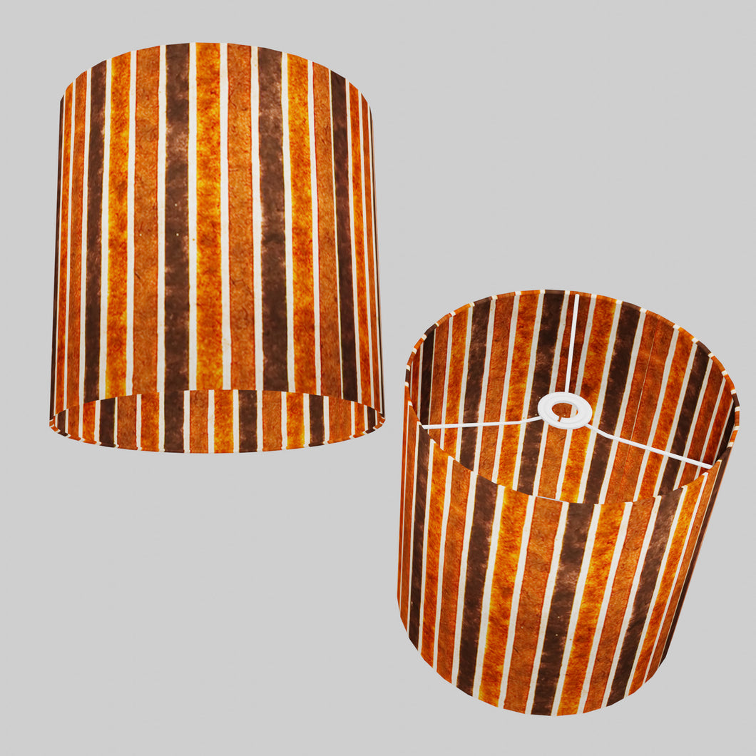 Drum Lamp Shade - P07 - Batik Stripes Brown, 30cm(d) x 30cm(h)