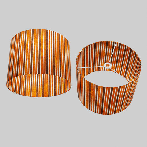 Drum Lamp Shade - P07 - Batik Stripes Brown, 40cm(d) x 30cm(h)