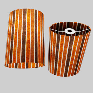 Oval Lamp Shade - P07 - Batik Stripes Brown, 20cm(w) x 30cm(h) x 13cm(d)