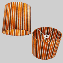 Oval Lamp Shade - P07 - Batik Stripes Brown, 30cm(w) x 30cm(h) x 22cm(d)