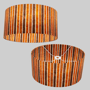 Oval Lamp Shade - P07 - Batik Stripes Brown, 40cm(w) x 20cm(h) x 30cm(d)