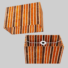 Rectangle Lamp Shade - P07 - Batik Stripes Brown, 30cm(w) x 20cm(h) x 15cm(d)