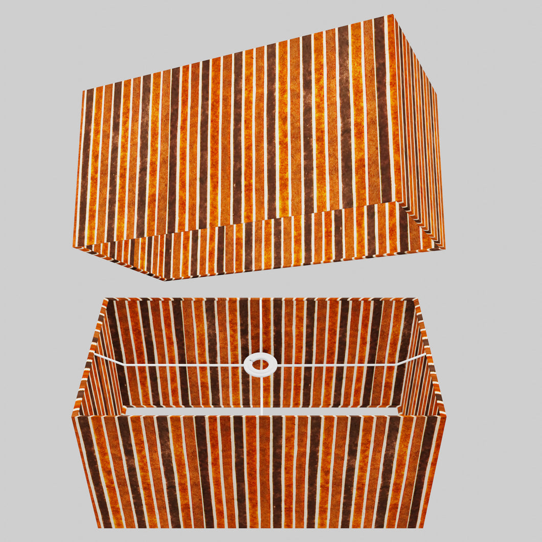 Rectangle Lamp Shade - P07 - Batik Stripes Brown, 50cm(w) x 25cm(h) x 25cm(d)