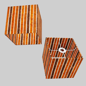 Square Lamp Shade - P07 - Batik Stripes Brown, 20cm(w) x 20cm(h) x 20cm(d)