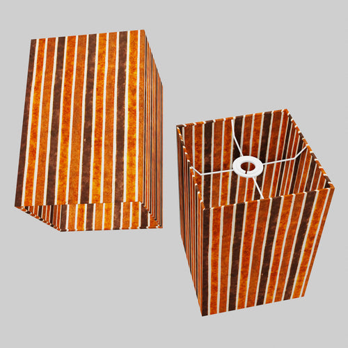 Square Lamp Shade - P07 - Batik Stripes Brown, 20cm(w) x 30cm(h) x 20cm(d)