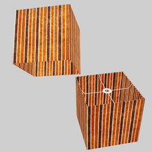 Square Lamp Shade - P07 - Batik Stripes Brown, 30cm(w) x 30cm(h) x 30cm(d)