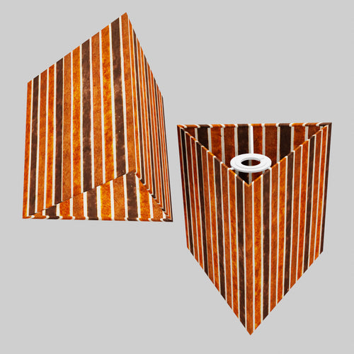 Triangle Lamp Shade - P07 - Batik Stripes Brown, 20cm(w) x 20cm(h)