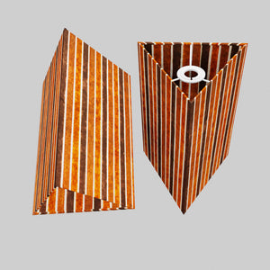 Triangle Lamp Shade - P07 - Batik Stripes Brown, 20cm(w) x 30cm(h)