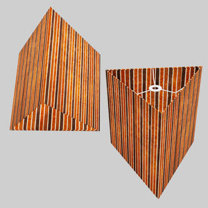 Triangle Lamp Shade - P07 - Batik Stripes Brown, 40cm(w) x 40cm(h)