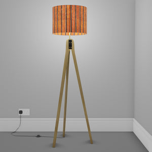 Oak Tripod Floor Lamp - P07 - Batik Stripes Brown