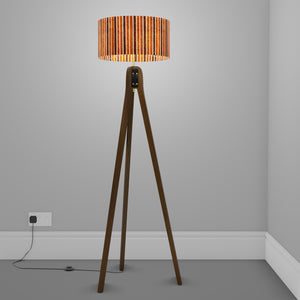 Sapele Tripod Floor Lamp - P07 - Batik Stripes Brown