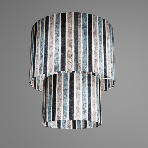 2 Tier Lamp Shade - P08 - Batik Stripes Grey, 30cm x 20cm & 20cm x 15cm