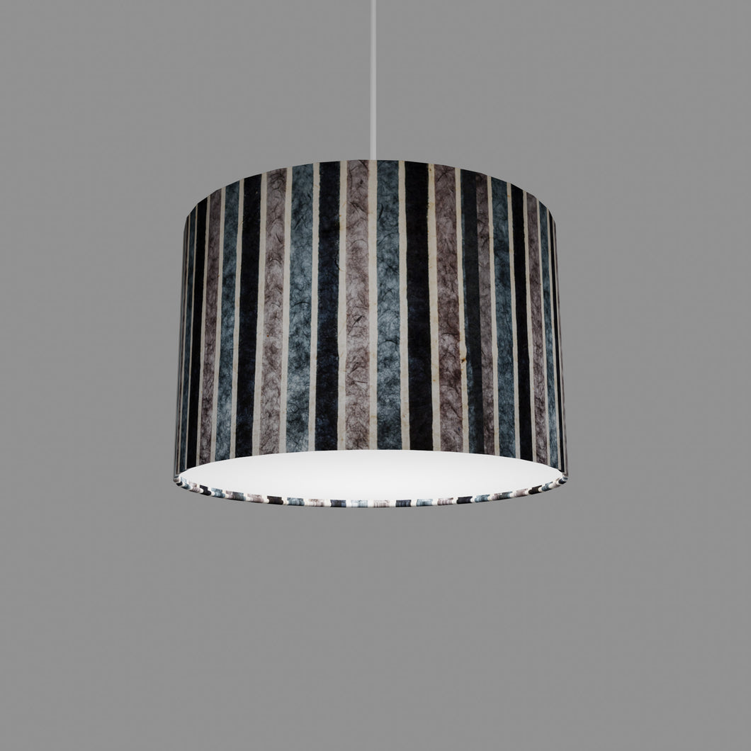 Drum Lamp Shade - P08 - Batik Stripes Grey, 30cm(d) x 20cm(h)