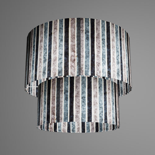 2 Tier Lamp Shade - P08 - Batik Stripes Grey, 40cm x 20cm & 30cm x 15cm