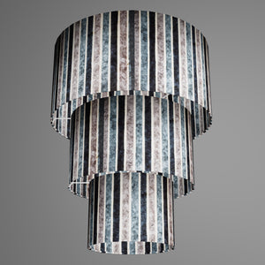 3 Tier Lamp Shade - P08 - Batik Stripes Grey, 40cm x 20cm, 30cm x 17.5cm & 20cm x 15cm