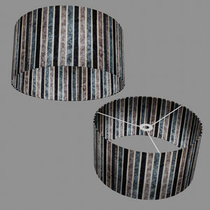 Drum Lamp Shade - P08 - Batik Stripes Grey, 40cm(d) x 20cm(h)
