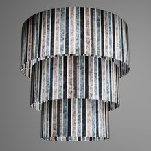 3 Tier Lamp Shade - P08 - Batik Stripes Grey, 50cm x 20cm, 40cm x 17.5cm & 30cm x 15cm