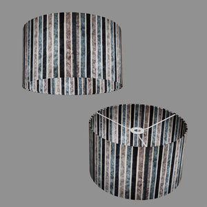 Drum Lamp Shade - P08 - Batik Stripes Grey, 35cm(d) x 20cm(h)