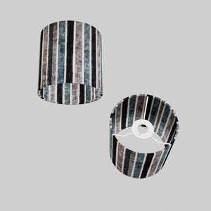 Drum Lamp Shade - P08 - Batik Stripes Grey, 15cm(d) x 15cm(h)