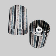 Drum Lamp Shade - P08 - Batik Stripes Grey, 15cm(d) x 20cm(h)