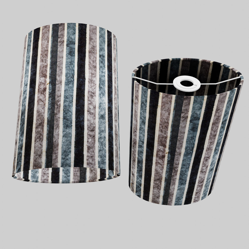 Oval Lamp Shade - P08 - Batik Stripes Grey, 20cm(w) x 30cm(h) x 13cm(d)