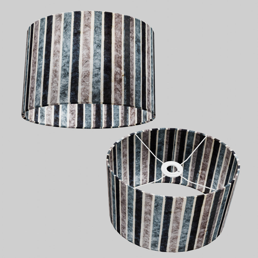 Oval Lamp Shade - P08 - Batik Stripes Grey, 30cm(w) x 20cm(h) x 22cm(d)