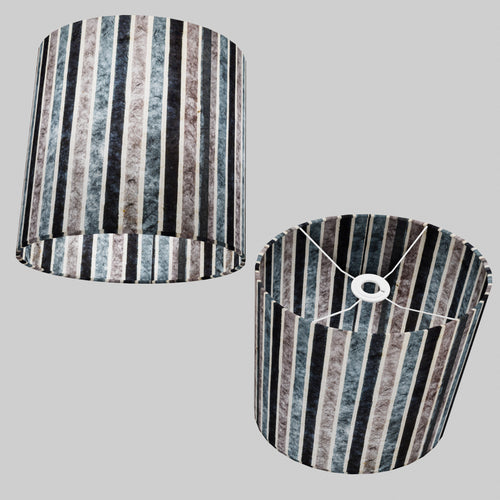 Oval Lamp Shade - P08 - Batik Stripes Grey, 30cm(w) x 30cm(h) x 22cm(d)