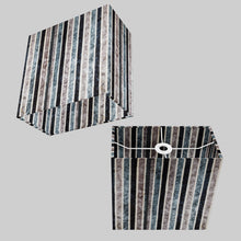 Rectangle Lamp Shade - P08 - Batik Stripes Grey, 30cm(w) x 30cm(h) x 15cm(d)