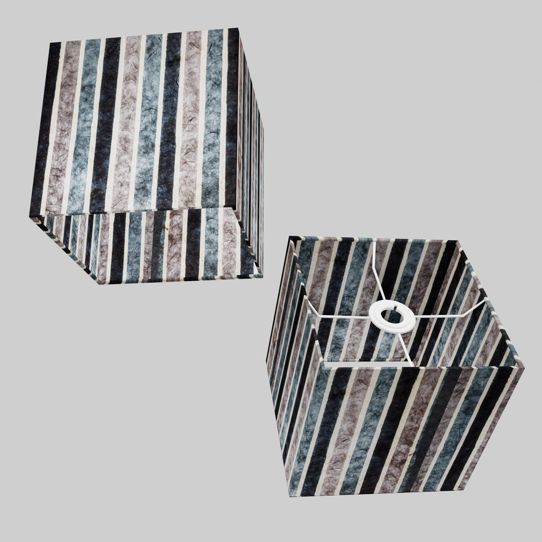 Square Lamp Shade - P08 - Batik Stripes Grey, 20cm(w) x 20cm(h) x 20cm(d)