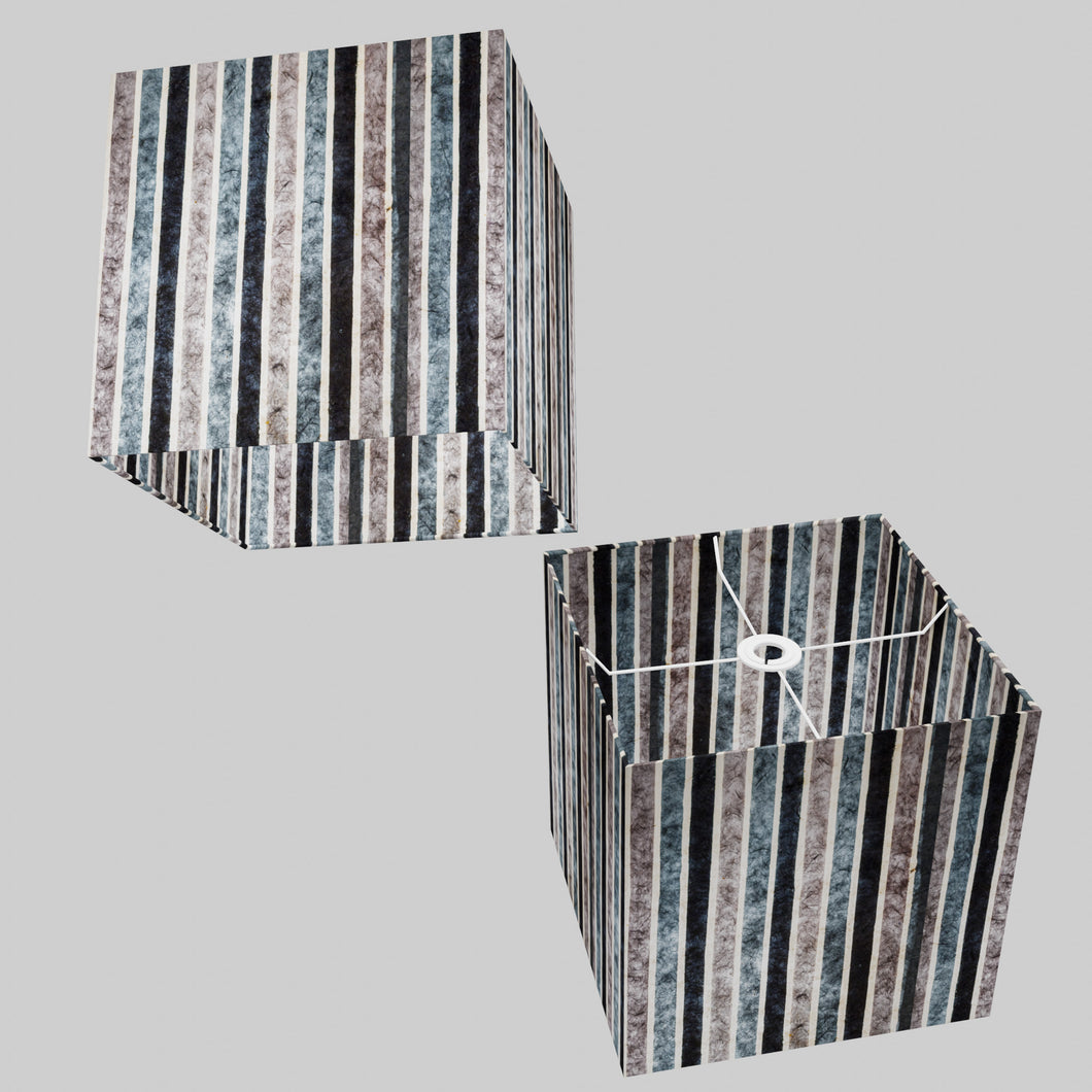 Square Lamp Shade - P08 - Batik Stripes Grey, 30cm(w) x 30cm(h) x 30cm(d)