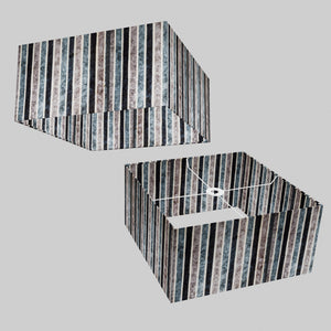 Square Lamp Shade - P08 - Batik Stripes Grey, 40cm(w) x 20cm(h) x 40cm(d)