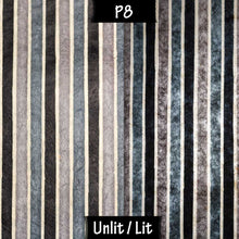 Drum Floor Lamp - P08 - Batik Stripes Grey, 22cm(d) x 114cm(h) - Imbue Lighting