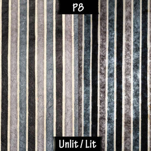 Drum Lamp Shade - P08 - Batik Stripes Grey, 40cm(d) x 20cm(h) - Imbue Lighting