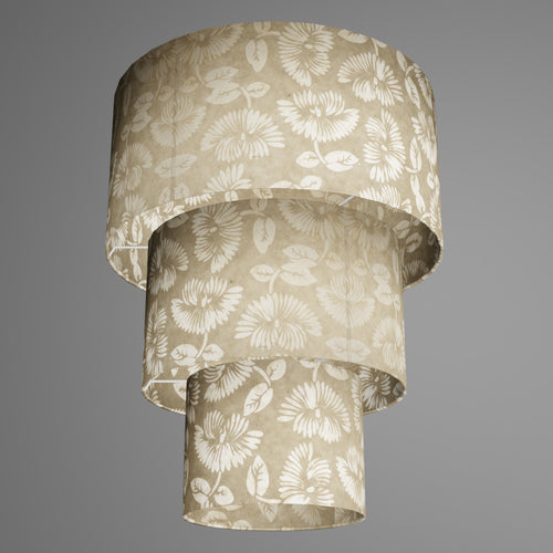 3 Tier Lamp Shade - P09 - Batik Peony on Natural, 40cm x 20cm, 30cm x 17.5cm & 20cm x 15cm