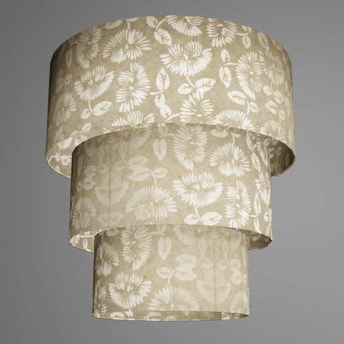 3 Tier Lamp Shade - P09 - Batik Peony on Natural, 50cm x 20cm, 40cm x 17.5cm & 30cm x 15cm