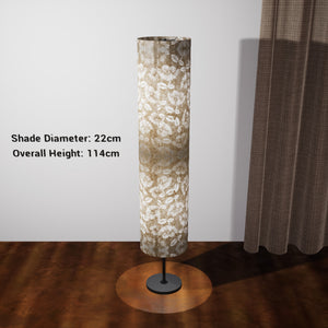 Drum Floor Lamp - P09 - Batik Peony on Natural, 22cm(d) x 114cm(h) - Imbue Lighting